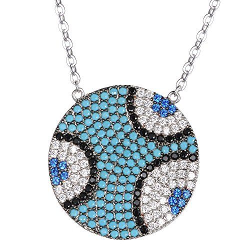 (KIVN Fashion Jewelry Spiritual Blue Evil eye Pave CZ Cubic Zirconia Bridal Pendant Necklaces for Women (Turquoise))