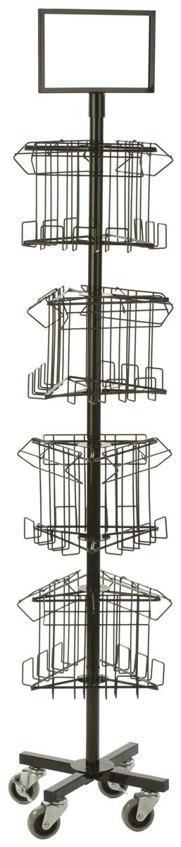 Displays2go Portable Magazine Display Rack with 12 Pockets, Spinning Tiered Holders, Black Steel Wire (3RTMZBRBK)