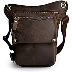 Vintage Leather Waist Pack Drop Leg Bag for Men Women Belt Bumbag Multi-Purpose Motorcycle Bike Outdoor Sports Tactical Cycling Riding Hunting Hiking Camping