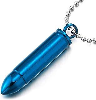 iMECTALII Herren Edelstahl Blau Munition Anhänger Halskette, Pille Box Denkmal Medaillon, 60cm Stahl Kugelkette