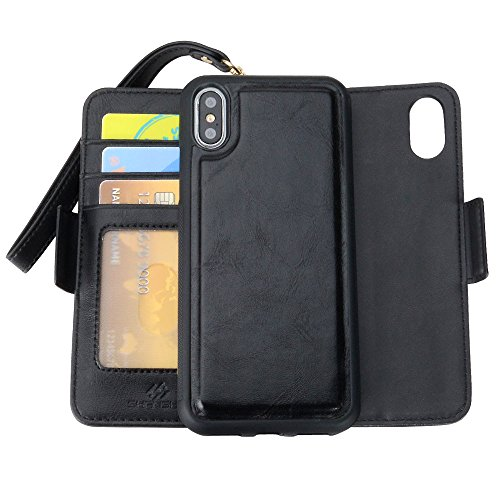SHANSHUI Wallet Case Compatible with iPhone X/ 10/ Xs, TPU+PC Inner RFID Blocking Detachable Magnetic Flip Folio PU Leather Kickstand Cover Case Credit Card Slots Cash Pocket Wrist Strap - 5.8 Black