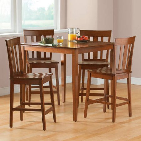 Mainstays 5-piece Counter Height Dining Set, Cherry (Breakfast Chairs Table With 4)