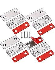 Deurmagneet Jiayi 4 Stuks Ultra dunne magnetische deurvanger Lade-magneet Roestvrij staal Magnetische kastvergrendelingen Hardware voor schuifdeur Raam Keukenkast Sluiting Kastdeur Deurdranger-zilver