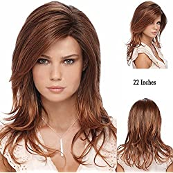 ZHCHL 22 inches Soft Long Wavy Hair Synthetic Hair Wigs for Women Long Red Blonde Hair Replacement Wigs Fancy Dress Party Hairpieces Wig (Size: 22&quot, Color Red)