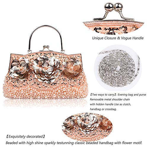 Ball Glitter Bag Enjoysports Party Evening Women Beads Bags Exquisite Handmade Wedding amp; Sequin Pink Vintage Bag for Bridal Beaded Cluth Handbag FHqwgq5