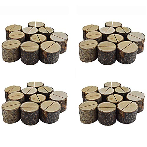 Bantoye 40 Pcs Rustic Wood Base Clip Holder DIY Table Name Number Card Holder Picture Memo Note Photo Message Clip for Party Wedding Table Name ()