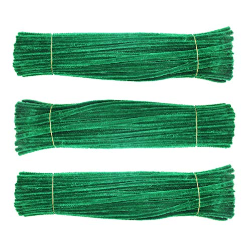 Chenille Stem 300 PCS Dark Green Pipe Cleaners 6MM x 12 INCH Twistable Stems Children's Bendable Sculpting Sticks for Crafts and Arts (Dark Green) ()
