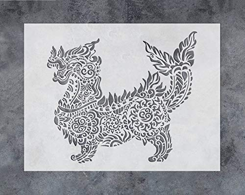 GSS Designs Chinese Dragon Wall Decor Stencil - Mandala Dragon Stencil (12x16 Inch) for Painting & Craft - Wall Furniture Window Fabric Wood Stencils -Reusable Template for Wall - Fabric Designs Chinese