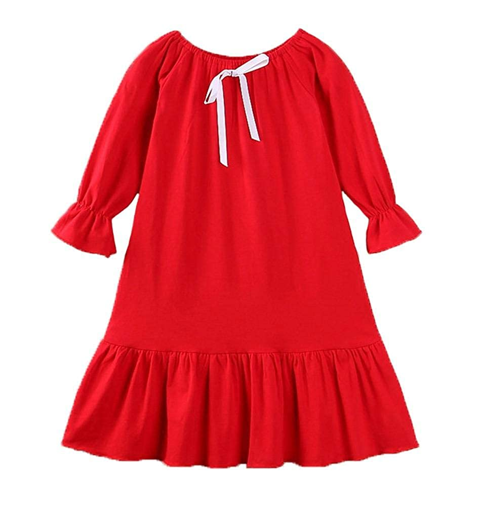 Coralup Toddler Girls Long Sleeve Cotton Sleepwear Nighgowns Casual Dress