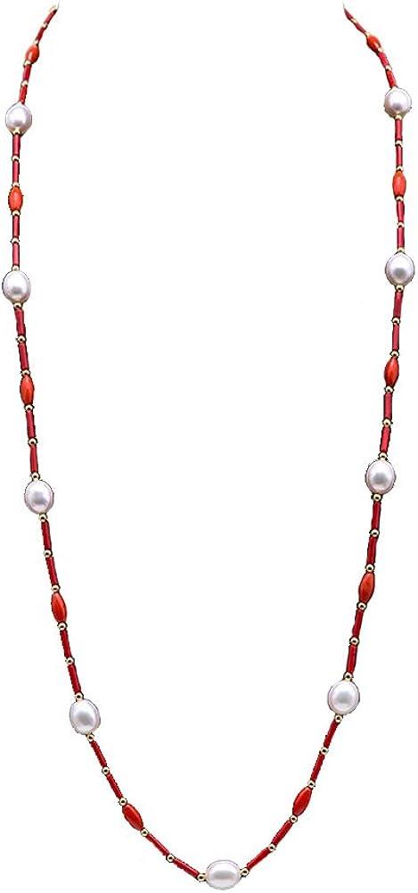 JYX Genuine 2x9mm Red Coral Stick y Collar de Perlas Blancas