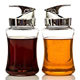 NON DRIP Glass Syrup Jar/Dispenser, 14oz Capacity - 2 Piece Set with Retracting Spout, - Durable Construction
