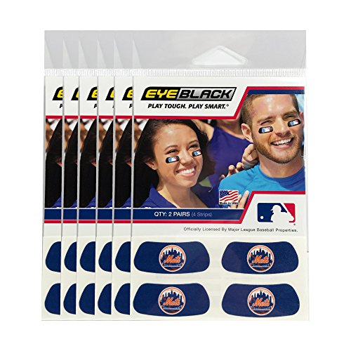 (24 Strips) New York Mets MLB Eye Black Anti Glare Strips, Great for Fans & Athletes on Game Day ()