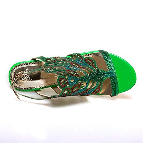 YE Damen Offene High Heels Plateau Slingback Sandalen Glitzer Pumps mit Schnalle und Strass 8cm Absatz Elegant Schuhe Grün
