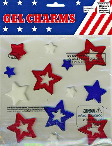 Nantucket Home Red, White and Blue Stars Gel Window Clings