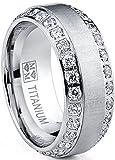 Men's Titanium Dome Brushed Finished Wedding Band Engagement Ring with Cubic Zirconia, 8mm SZ 8