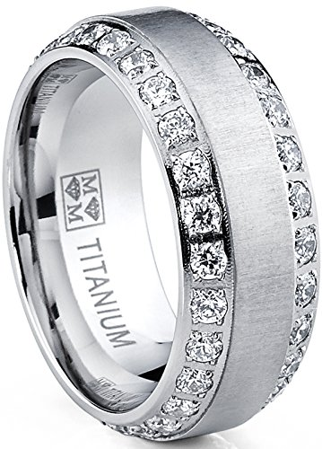 Men's Titanium Dome Brushed Finished Wedding Band Engagement Ring with Cubic Zirconia, 8mm SZ 10 (Dome Titanium Band)