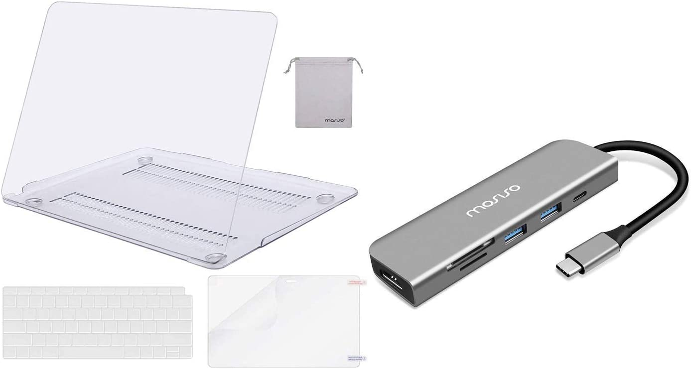 MOSISO MacBook Air 13 inch Case 2020 2019 2018 Release A2179 A1932 with Retina Display & USB-C Hub, 6 in 1 Type-C Multiport Adapter to 65W Power Charging