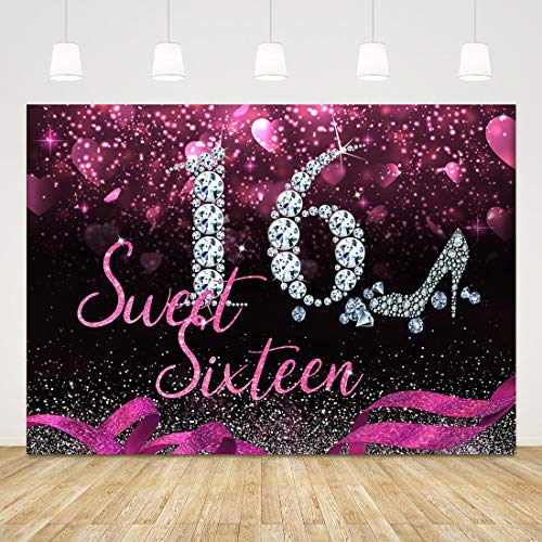 Sweet 16 Birthday Backdrops for Party Pink Sixteen Photography Background 7x5ft Glitter Diamonds 16th Birthday Photo Backdrop 16 Birthday Banner Girls Birthday Party Decorations Photobooth Props