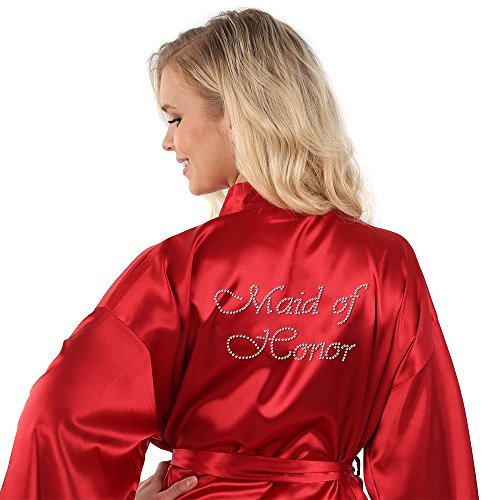 VEAMI Women's Short Kimono Robe-Cabernet Mist-Medium, Maid of Honor Edition