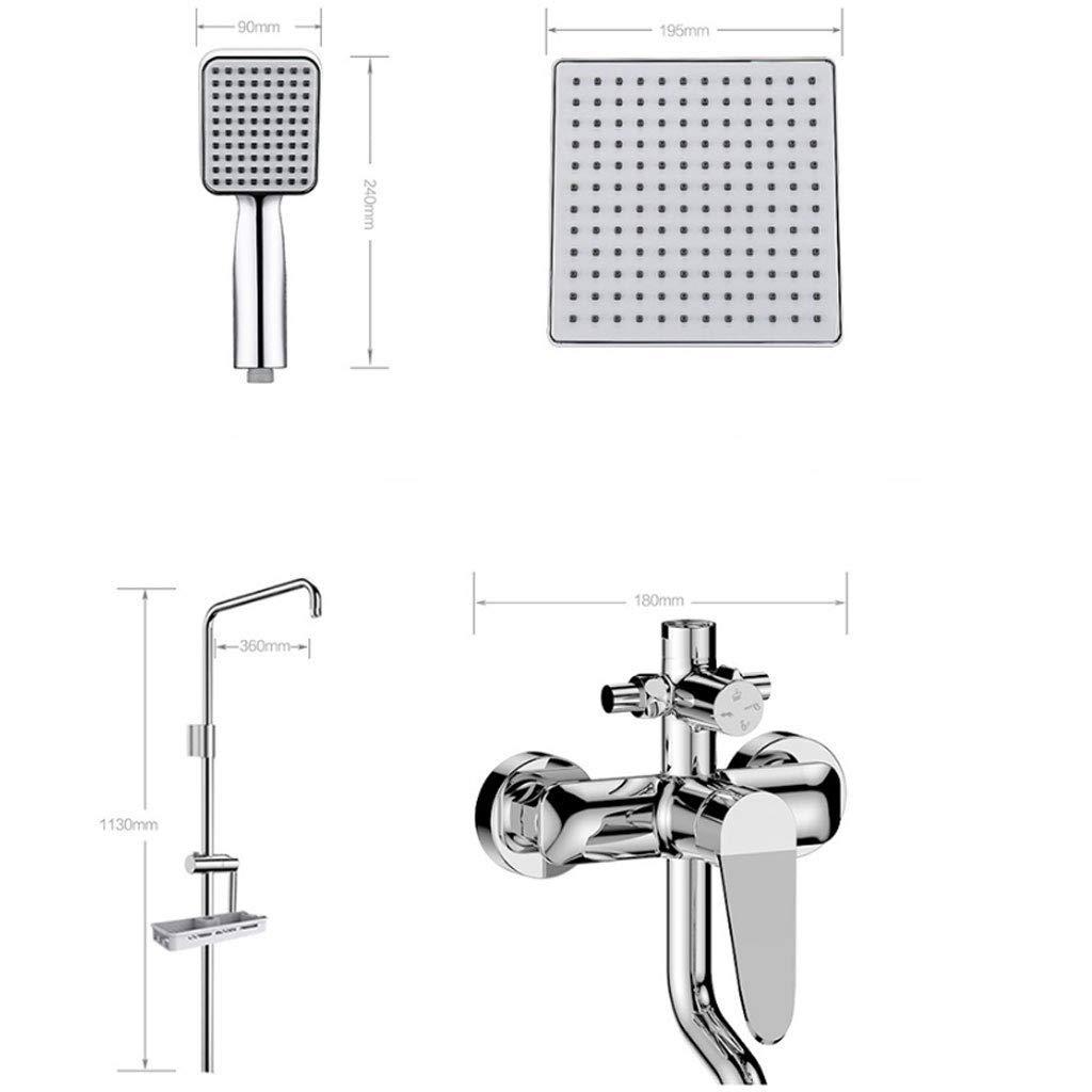 DWhui Bathroom Shower Mixer Hand Shower Set Spray Gun Filter Head Sprayer Set Thermostatic Valve Square (Punch Installation) by DWhui (Image #6)