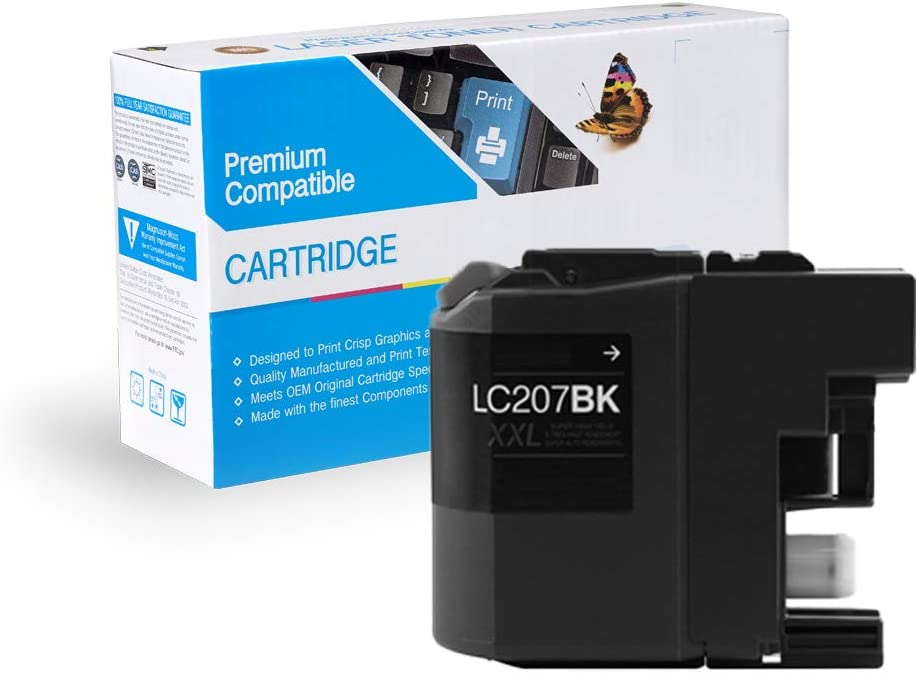 Black, 3 Pack MS Imaging Supply Compatible Inkjet Cartridge Replacement for Brother LC207BK