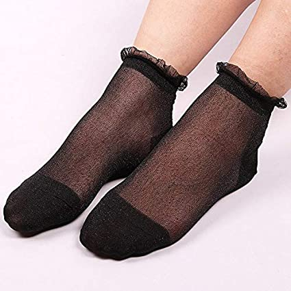 Blue Stones Women Lace Ankle Socks Summer Spring Transparent Socks Bright Glitter Socks Low Cut Sokken