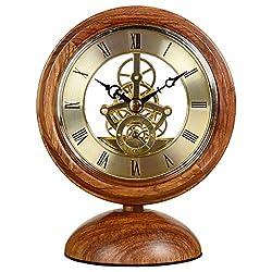 Rcircle Vintage Wood Desk Clock Ornaments, Bracket Clock Decoration Creative Small Table Clock Quartz Clock Perspective Movement Clear Operation Desktop Clock for Office Living Room Décor