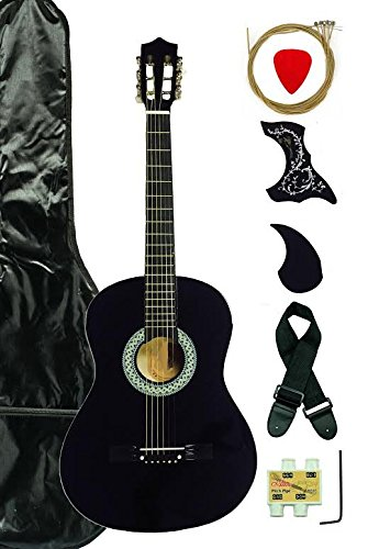 38-Inch Beginner Acoustic Guitar Starter Pack with Gig Bag, Strap, Pitch Pipe, and Pick - Black Dreadnought by Generic