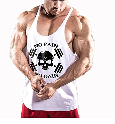 InleaderStyle Men's Cotton Gym NoPainNoGain Stringer Tank Tops