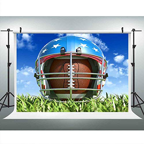 Sport-Field Football Rugby Helmet Backdrops for Photography 9x6FT Blue Sky Meadow Sports Photo Backgrounds Theme Party American Football Backdrops Photo Booth Props LUCKSTY LUP441 Photocall]()
