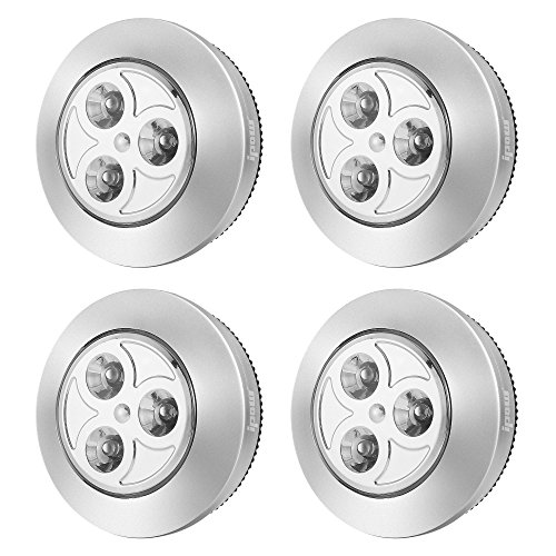 IPOW YC06 Upgraded Cordless Tap Sticky LED Battery-Powered Push Night Lights Press On Lamp for Closets,Wardrobe,Cabinets,Counters,Utility Rooms,Whitelight, 4 Pack