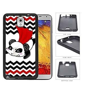 Flying Superhero Panda Cartoon With Chevron Design Rubber Silicone TPU Cell Phone Case Samsung Galaxy Note 3 III N9000 N9002 N9005