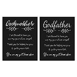 Godmother and Godfather Gift Quote Chalkboard Inspired Prints Bundle - Godparent Keepsake from Godchild for Baptism/Christening (8x10)