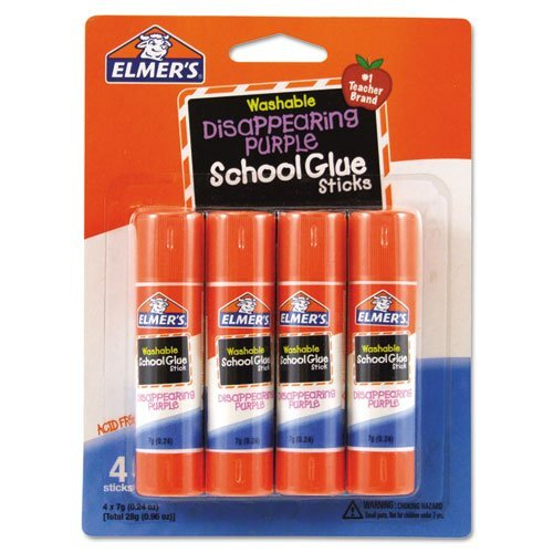 Elmer`samp;reg; Washable School Glue Sticks, Purple, .24 oz, Repositionable Stick, 4 per Pack by (0.24 Ounce Repositionable Stick)