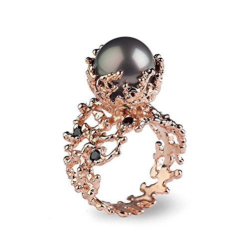 (14k Rose Gold, High quality Tahitian South Sea Cultured Pearl, Genuine Black Diamonds Gemstone, Organic Coral Reef Engagement Ring, Size 4 to 10)