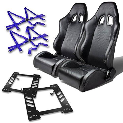 Jeep Wrangler TJ Pair of PVC Leather Racing Seats (Carbon Fiber Look)+Seat Bracket+6-Point Camlock Blue (Jeep Racing Seats)