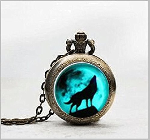 Moon Wolf Necklace Vintage Pendant Locket Necklace Love Gifts Unique Lovers GiftsWatch Necklace , Pocket Watch Jewelry ,