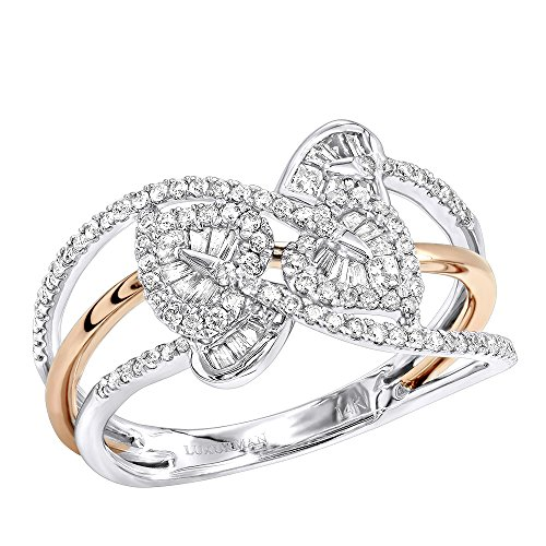 Ladies 14K Two-Tone Gold Baguette & Round Diamond Leaf Coctail Ring 0.5ctw (White-Rose, Size 7) (Tone Diamond Two Baguette)
