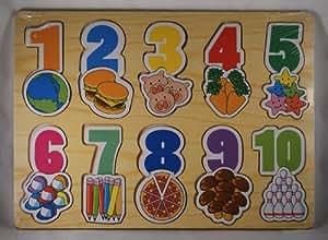 Juguetes de madera educativos: Puzzle de números para niños de 24 meses en adelante.