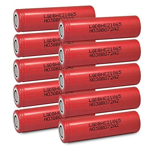 10 LG HE2 18650 2500mAh 35A 3.7v Rechargeable Flat Top Batteries