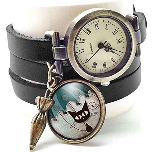 Reloj multidivisión de creación artesanal de cuero - negro -gato y paraguas -Regalo de