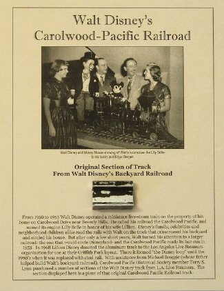 Own a Piece of Walt Disney's Backyard Railroad- The Carolwood Pacific! from Phil Sears Collectibles