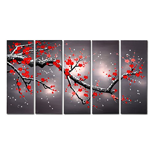 Red Flowers Plum Tree Plants Blooming Abstract Canvas Artwork Wall Art Home