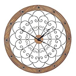 Household Essentials 2364-1 Oversized Decorative Wall Clock, Wood Frame, Metal Scroll