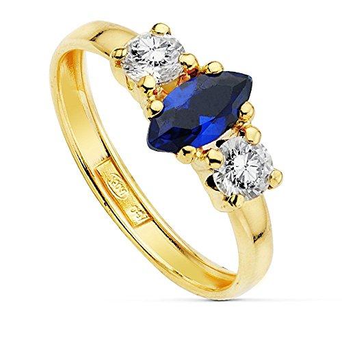 Bague Or 18k centre zircone cubique pierre bleue 8x4mm. [AB2392]