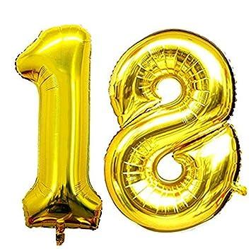 JUNGEN Globos de numeros Globo de cumpleaños para 18 años 1 ...