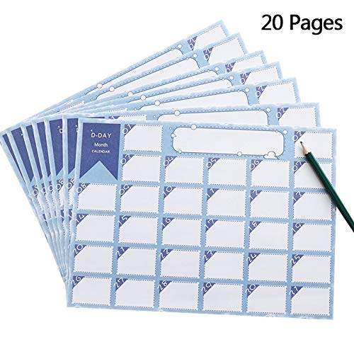 Daily Monthly Desk Wall Planning Pad, Undated Agenda Scheduler Calendar (20 Sheets, 4.3