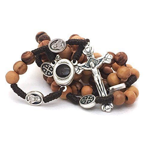 (Olive Wood Rosary - Bethlehem Holy Soil, Christian Gift from Jerusalem)