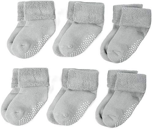 rip Socks 6 Pack Soft Cotton Terry Infant & Toddler Non Slip/Anti Skid Crew Socks ()