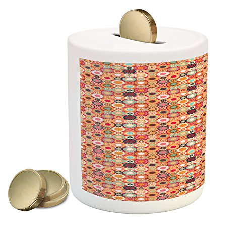 Cheap  Lunarable Traditional Piggy Bank, Patchwork Pattern of Colorful Mosaic Tiles Print Moroccan..